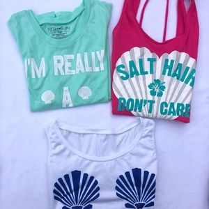 3 pc. Lot mermaid, salt hair and shell tops